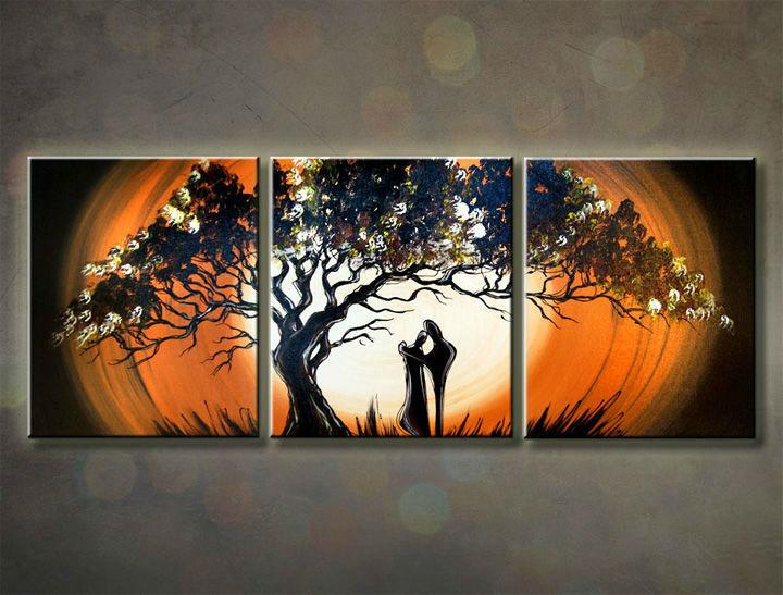 Ručne maľovaný obraz LOVE 3 dielny 120x50cm 1146/MO (RUčNE MAľOVANé OBRAZY)