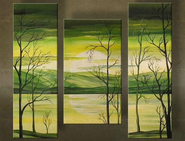 Ručne maľovaný obraz STROM 3 dielny 2222FA (RUčNE MAľOVANé OBRAZY)