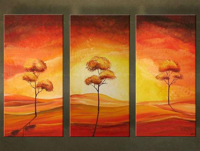Ručne maľovaný obraz STROM 3 dielny 2312FA (RUčNE MAľOVANé OBRAZY)