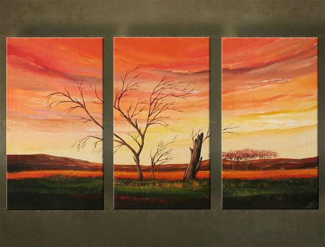 Ručne maľovaný obraz STROM 3 dielny 2327FA (RUčNE MAľOVANé OBRAZY)