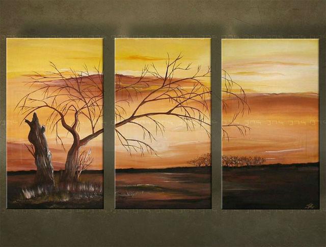 Ručne maľovaný obraz STROM 3 dielny 2356FA (RUčNE MAľOVANé OBRAZY)