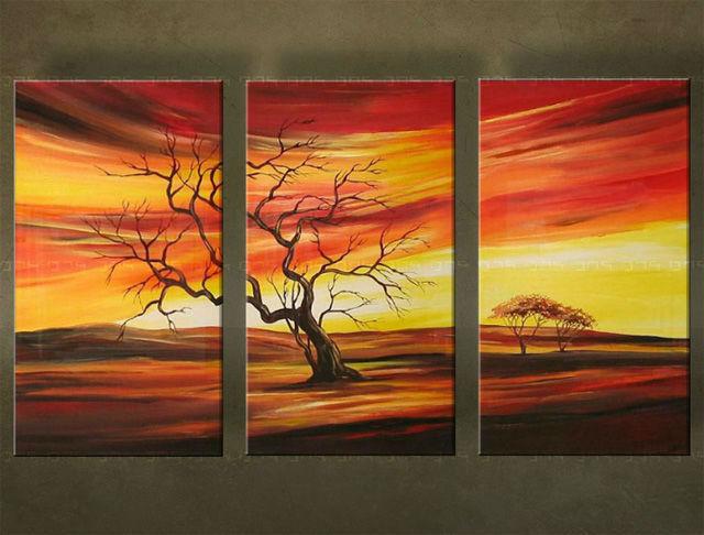 Ručne maľovaný obraz STROM 3 dielny 2444FA (RUčNE MAľOVANé OBRAZY)