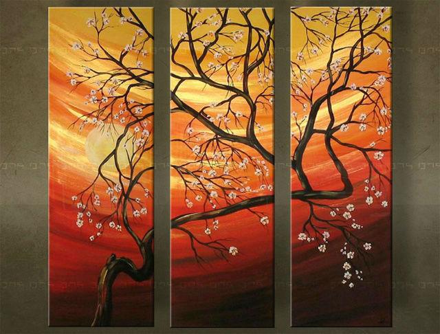 Ručne maľovaný obraz STROM 3 dielny 2456FA (RUčNE MAľOVANé OBRAZY)