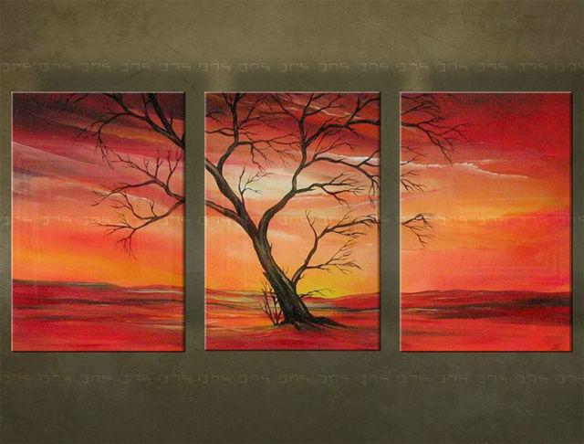 Ručne maľovaný obraz STROM 3 dielny 2505FA (RUčNE MAľOVANé OBRAZY)