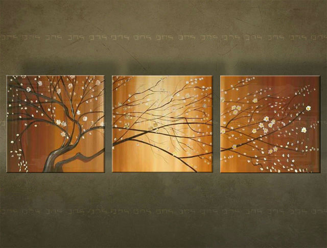 Ručne maľovaný obraz STROM 3 dielny 2796FA (RUčNE MAľOVANé OBRAZY)