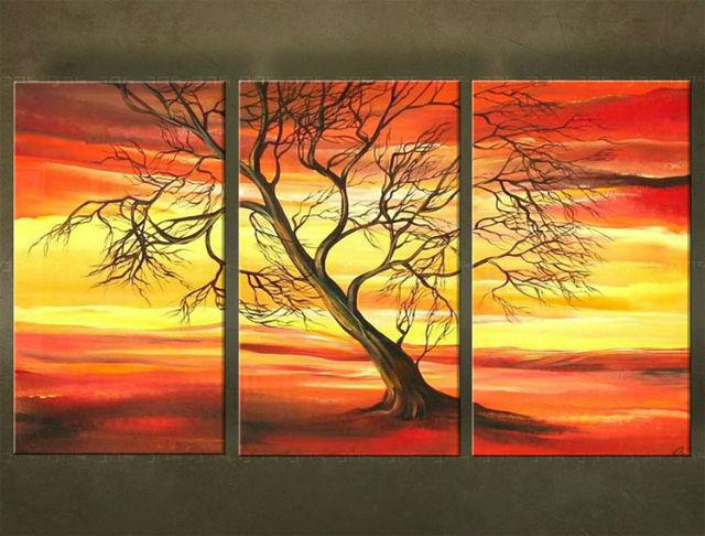 Ručne maľovaný obraz STROM 3 dielny 2927FA (RUčNE MAľOVANé OBRAZY)