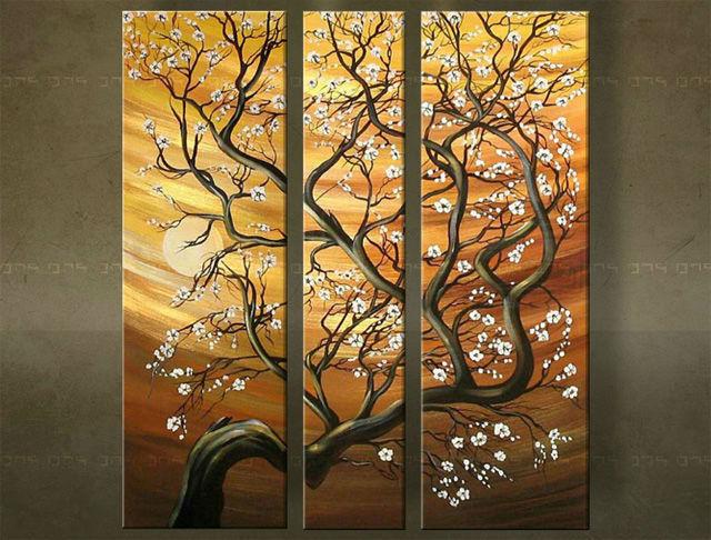 Ručne maľovaný obraz STROM 3 dielny 2975FA (RUčNE MAľOVANé OBRAZY)