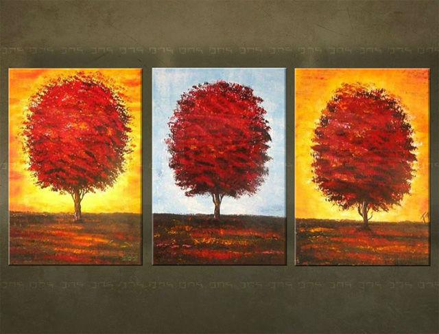 Ručne maľovaný obraz STROM 3 dielny 3457FA (RUčNE MAľOVANé OBRAZY)