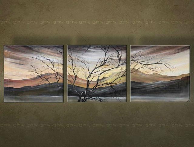 Ručne maľovaný obraz STROM 3 dielny 4344FA (RUčNE MAľOVANé OBRAZY)