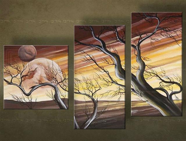 Ručne maľovaný obraz STROM 3 dielny 4518FA (RUčNE MAľOVANé OBRAZY)