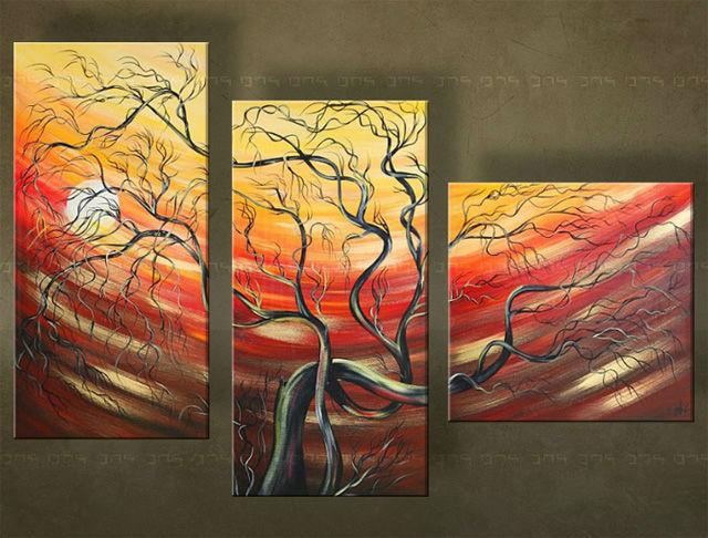 Ručne maľovaný obraz STROM 3 dielny 5309FA (RUčNE MAľOVANé OBRAZY)