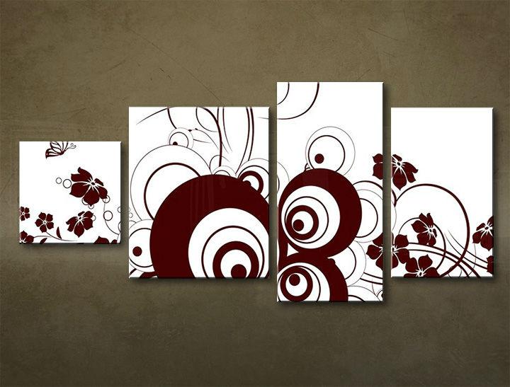 Image of Obraz na stenu 4 dielny ABSTRAKT ABI_0028_4EL (moderný 4 dielny obraz na plátne)