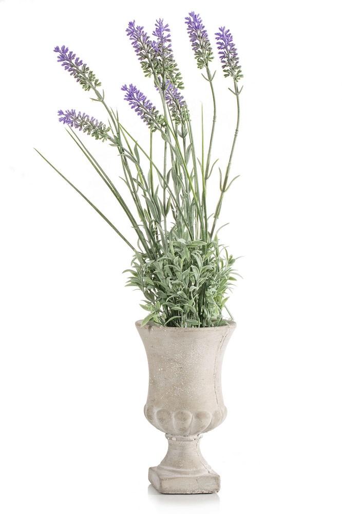 Luxusná keramická váza s umelými kvetmi LAWENDA 10x45cm (Keramické vázy)
