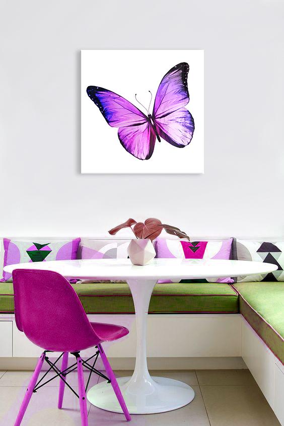 Obraz Fialový Motýľ na zrkadle Mirrora 07 - 50x50 cm (Obrazy Mirrora)
