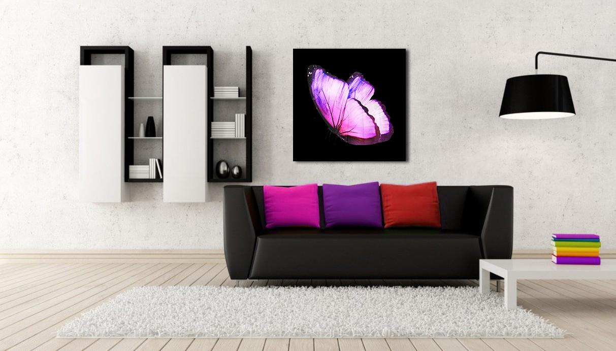 Obraz Fialový Motýľ 3D na zrkadle Mirrora 11 - 50x50 cm (Obrazy Mirrora)