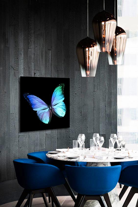Obraz Modrý Motýľ 3D na zrkadle Mirrora 16 - 50x50 cm (Obrazy Mirrora)