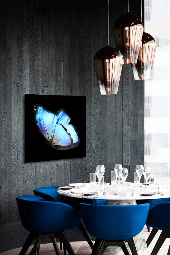 Obraz Modrý Motýľ 3D na zrkadle Mirrora 17 - 50x50 cm (Obrazy Mirrora)