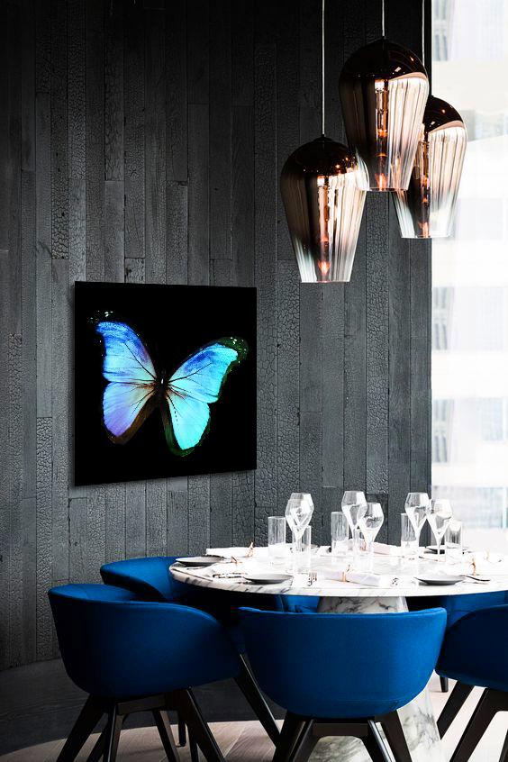 Obraz Modrý Motýľ 3D na zrkadle Mirrora 18 - 50x50 cm (Obrazy Mirrora)