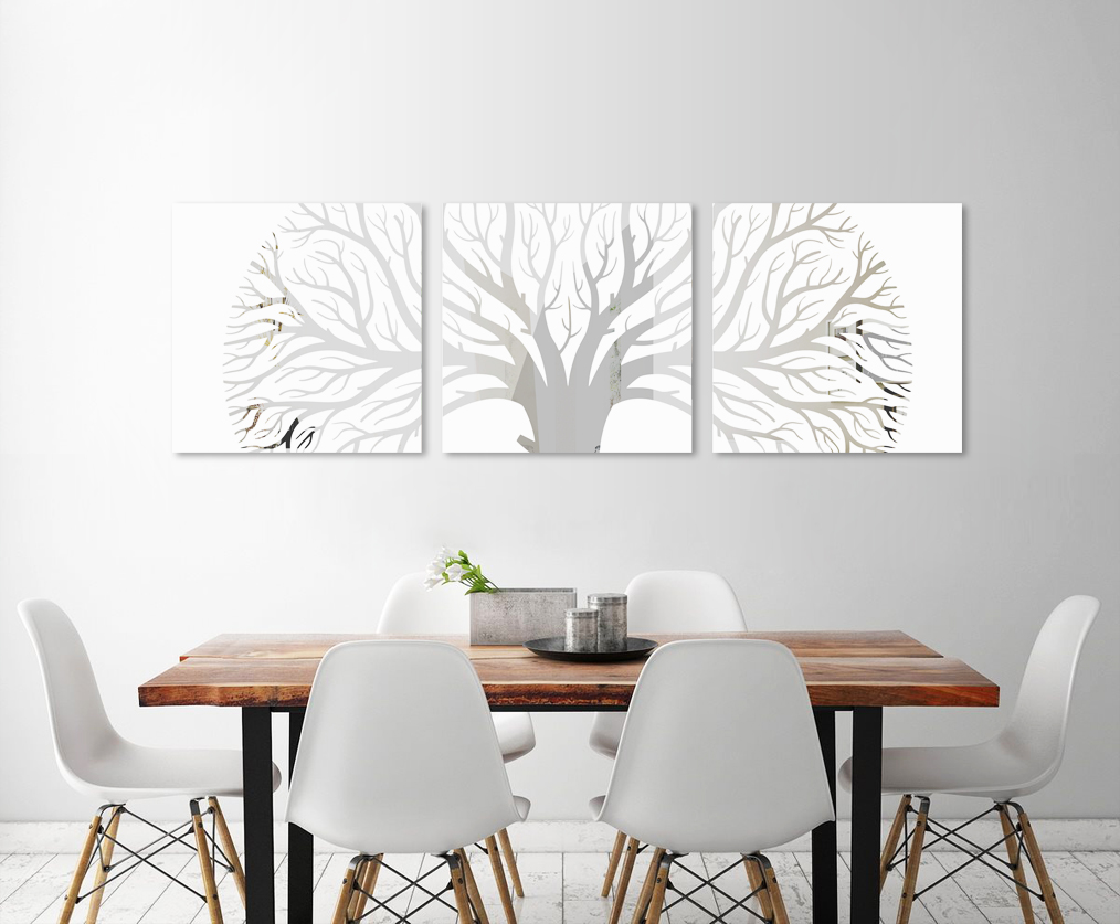 Obraz Biely Strom na zrkadle Mirrora 47 - 50x150 cm (Obrazy Mirrora)
