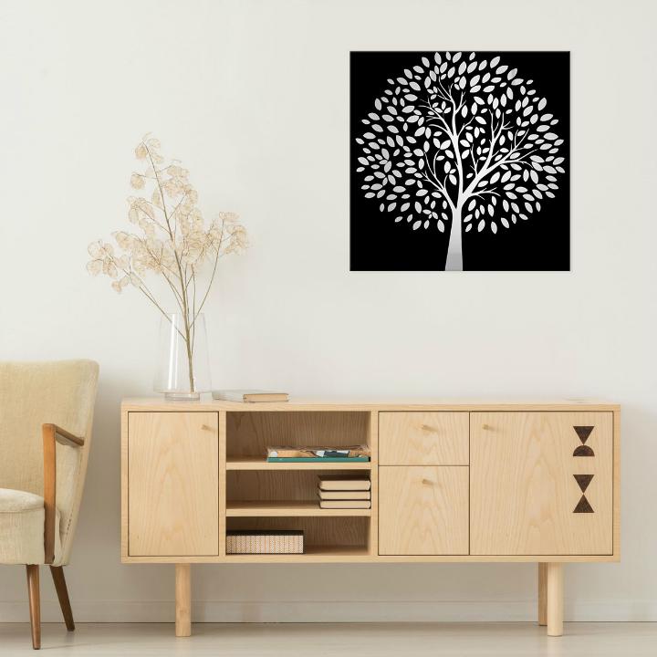 Obraz Čierny strom na zrkadle Mirrora 50 - 50x50 cm (Obrazy Mirrora)
