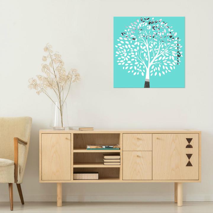 Obraz Tyrkysový Strom na zrkadle Mirrora 52 - 50x50 cm (Obrazy Mirrora)