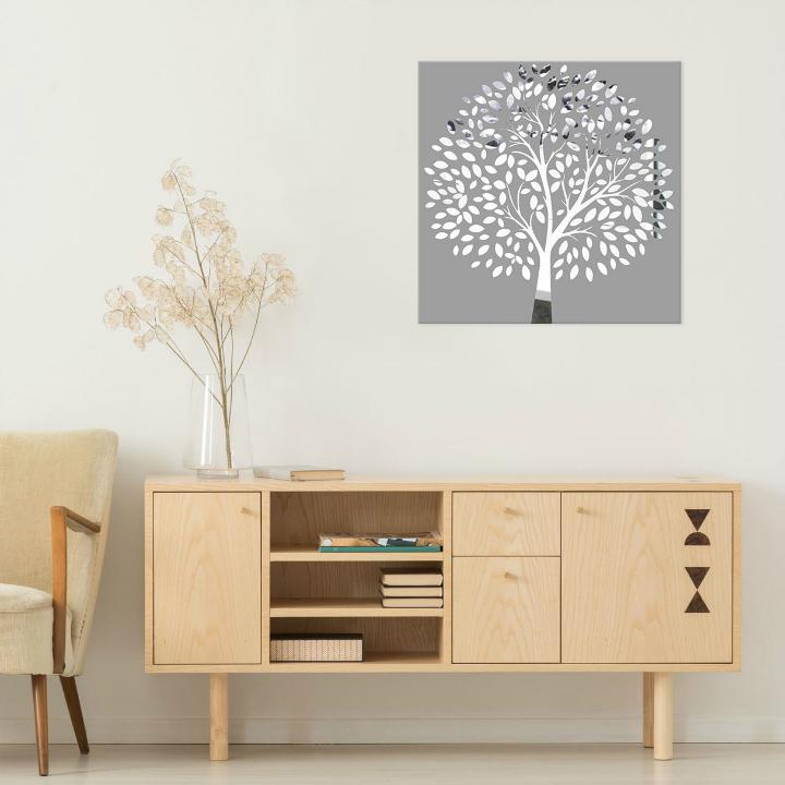 Obraz Sivý Strom na zrkadle Mirrora 53 - 50x50 cm (Obrazy Mirrora)