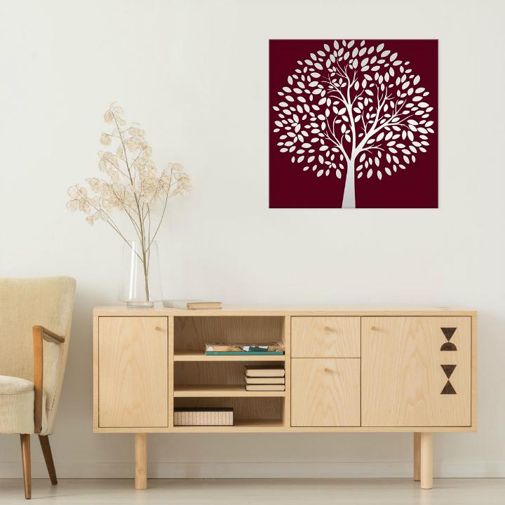 Obraz Bordový Strom na zrkadle Mirrora 54 - 50x50 cm (Obrazy Mirrora)