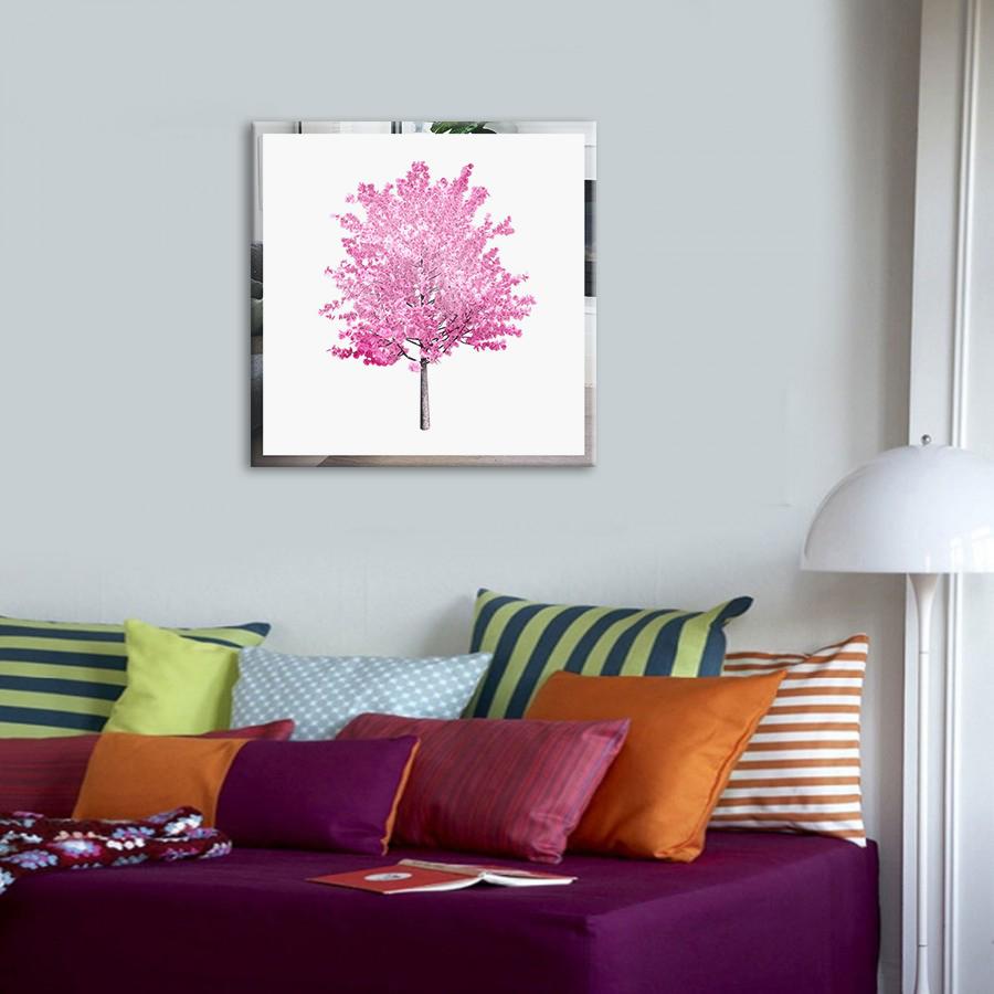 Obraz Ružový Strom na zrkadle Mirrora 55 - 50x50 cm (Obrazy Mirrora)