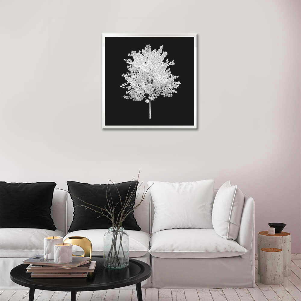 Obraz Biely Strom na zrkadle Mirrora 56 - 50x50 cm (Obrazy Mirrora)