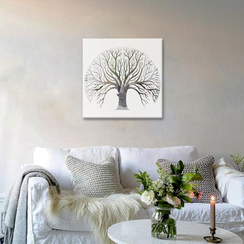 Obraz Biely Strom na zrkadle Mirrora 59 - 50x50 cm (Obrazy Mirrora)