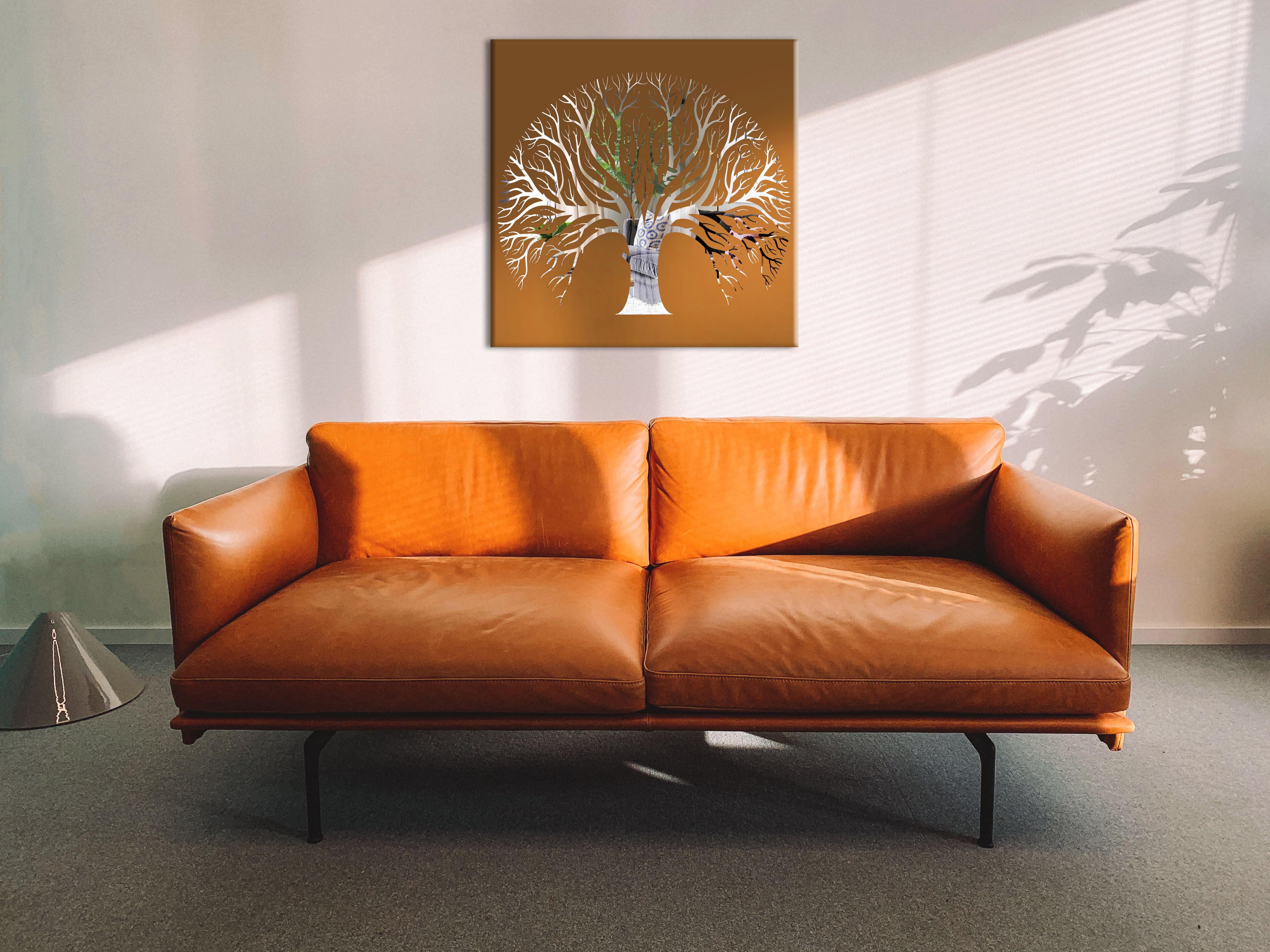 Obraz Hnedý Strom na zrkadle Mirrora 60 - 50x50 cm (Obrazy Mirrora)