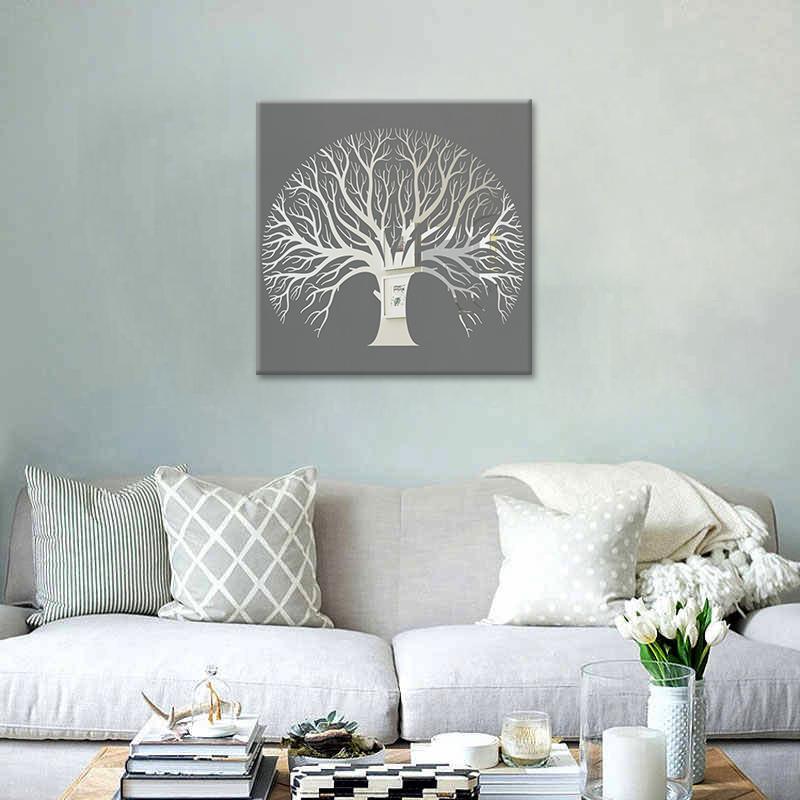 Obraz Sivý Strom na zrkadle Mirrora 61 - 50x50 cm (Obrazy Mirrora)