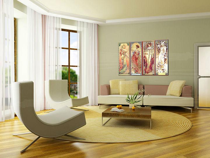 Obraz na plátne 1 dielny ŠTYRI ROČNÉ OBDOBIA – Alfons Mucha 000 REP004 (reprodukcia 120x70 cm)