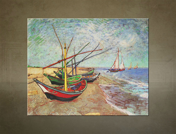 Obraz na plátne FISHING BOATS ON THE BEACH AT SAINTS-MARIES – Vincent van Gogh R