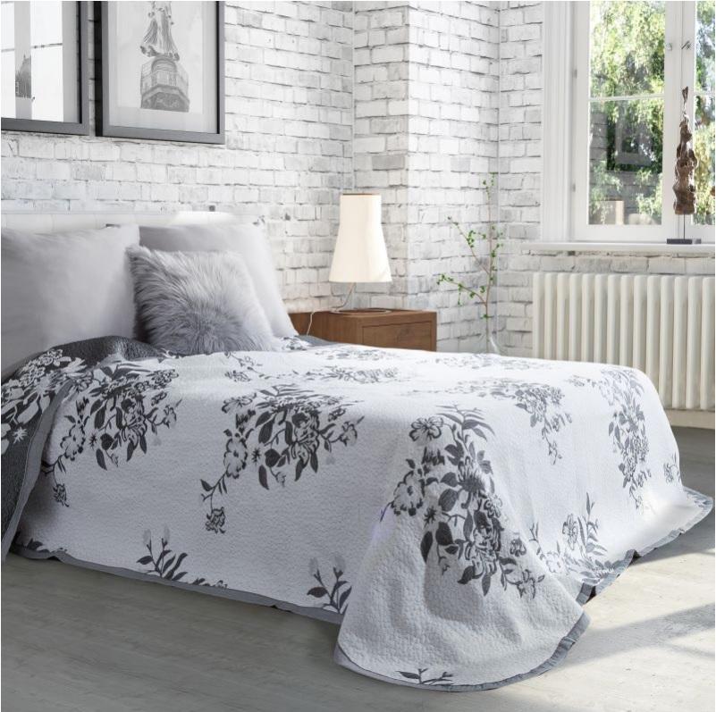 Francúzsky prehoz AMELIA 170x210 cm (biely prehoz na posteľ s kvetmi)