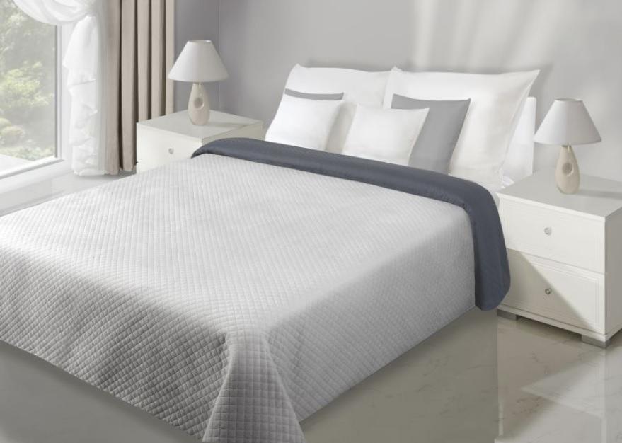 Sivý prehoz na posteľ FILIP 220x240 cm (prehoz s jemným vlasom)