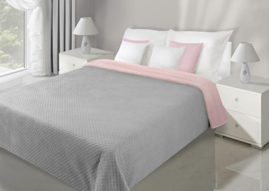 Obojstranný prehoz FILIP 220x240 cm (prehoz v ružovo - sivej farbe)