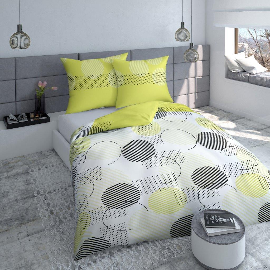 Posteľné obliečky s pásikavo - guľatým vzorom POK-87 200x220 cm (bavlnené posteľné obliečky)