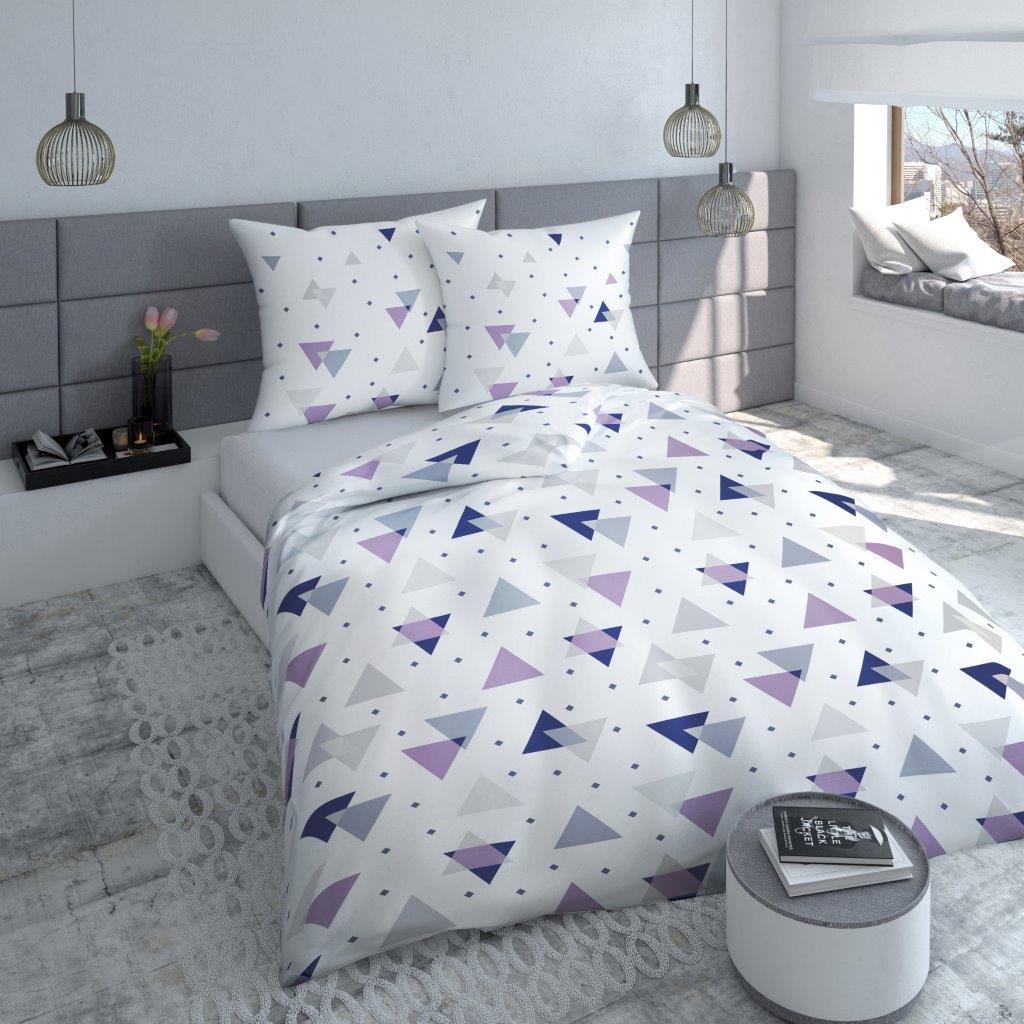 Posteľné obliečky s trojuholníkmi POK-90 200x220 cm (bavlnené posteľné obliečky)