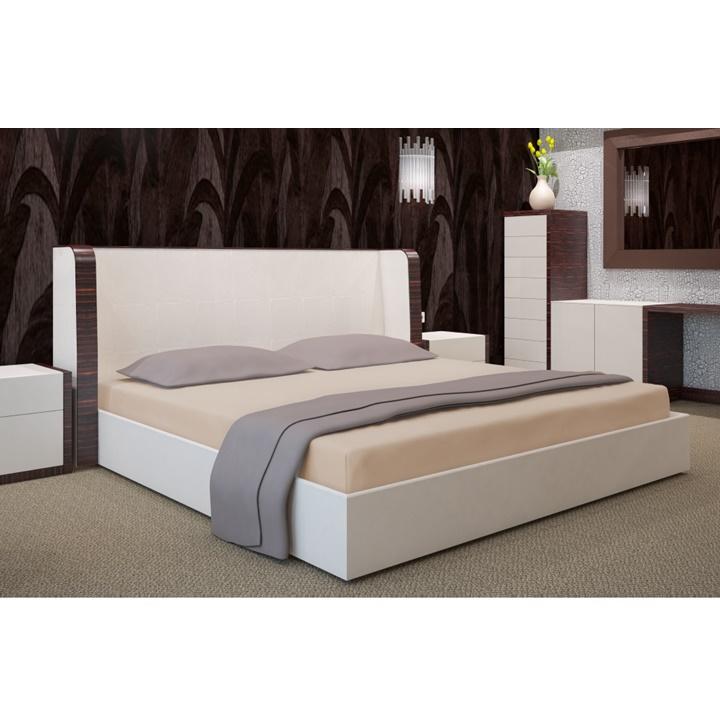 Napínacia plachta na posteľ kapučínová 220 x 200 cm (Plachta na dvojposteľ)