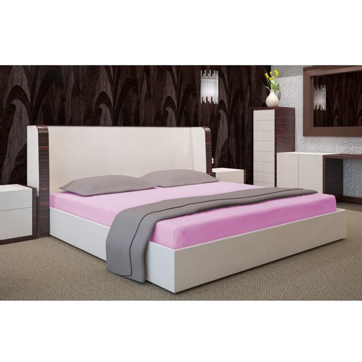 Napínacia plachta na posteľ ružová 180 x 200 cm (Plachta na dvojposteľ)