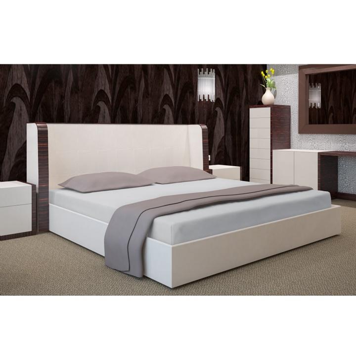 Napínacia plachta na posteľ šedá 180 x 200 cm (Plachta na dvojposteľ)