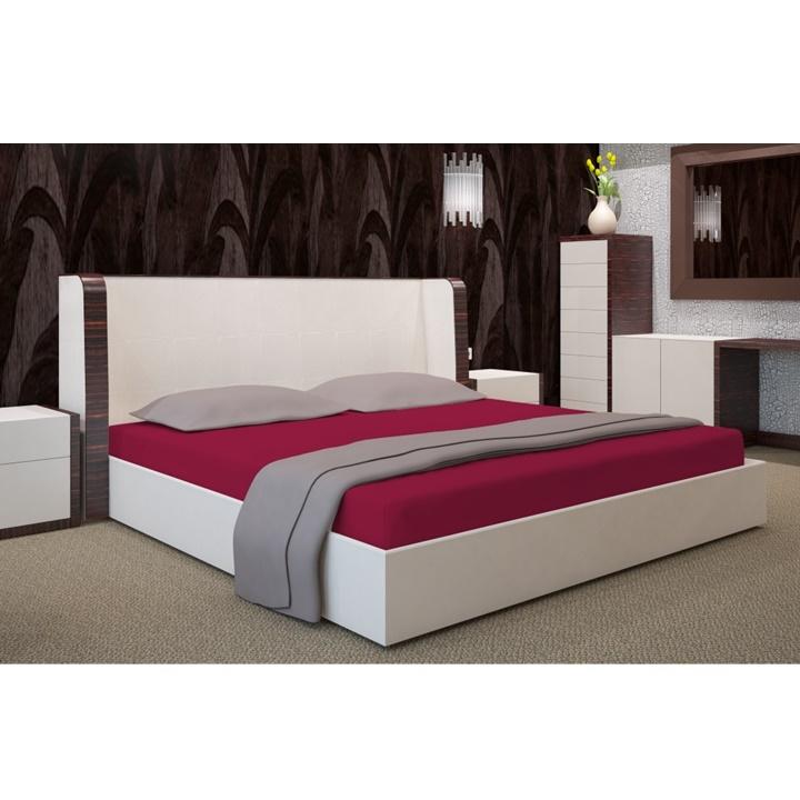 Napínacia plachta na posteľ bordó 180 x 200 cm (Plachta na dvojposteľ)