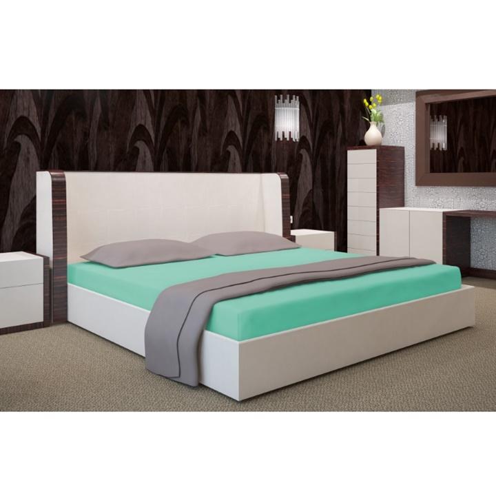 Napínacia plachta na posteľ svetlá tyrkysová 90 x 200 cm (Plachta na jednoposteľ)