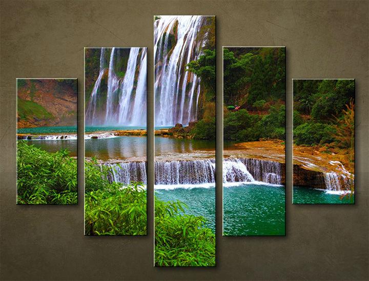 Image of Obraz na stenu 5 dielny VODOPÁDY WWO_0003_5EL (obraz na plátne)