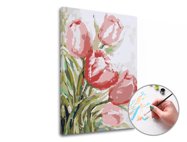 Maľovanie podľa čísel TULIPÁNY – nízka náročnosť (Sada na maľovanie podľa čísel ARTMIE)