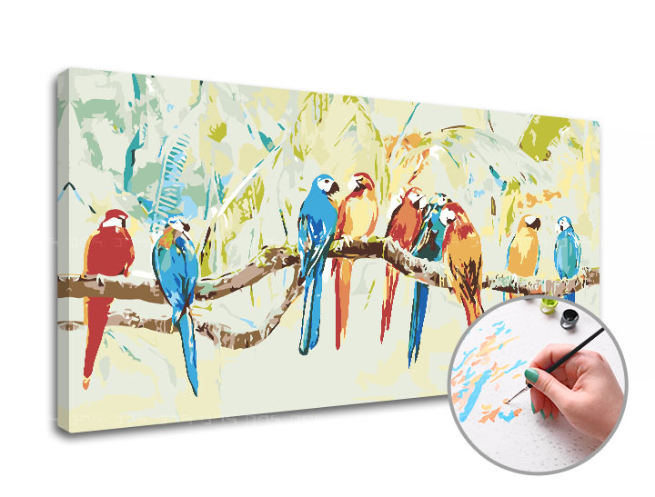 Maľovanie podľa čísel PAPAGÁJE – stredná náročnosť (Sada na maľovanie podľa čísel ARTMIE)