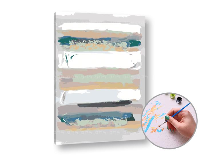 Maľovanie podľa čísel ABSTRAKTNÉ PRUHY – nízka náročnosť 60x40 cm (Sada na maľovanie podľa čísel ARTMIE)
