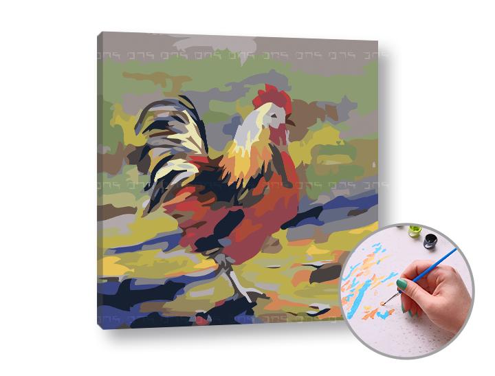 Maľovanie podľa čísel FAREBNÁ SLIEPKA – nízka náročnosť 50x50 cm (Sada na maľovanie podľa čísel ARTMIE)