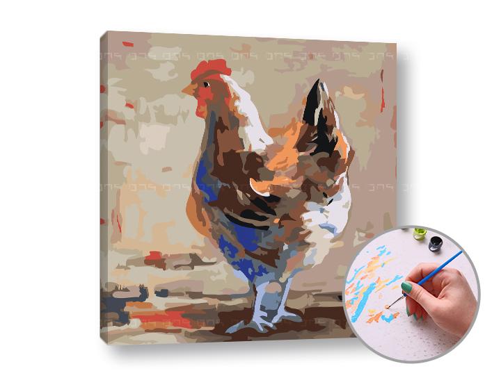 Maľovanie podľa čísel SLIEPKA NA DVORE – nízka náročnosť 50x50 cm (Sada na maľovanie podľa čísel ARTMIE)